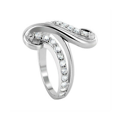 925 Sterling Silver Cubic Zirconia Round Swirl Design Ring Size 7 - 9