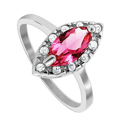 Rhodium Plated 925 Sterling Silver Marquise CZ Solitaire accents Ring