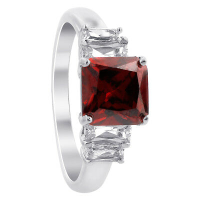 Rhodium Plated Sterling Silver CZ Cubic Zirconia Princess Cut Ring Size 6, 9