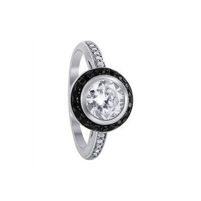 925 Sterling Silver Cubic Zirconia Solitaire with Accents CZ Ring Size 5 - 9