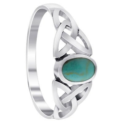 925 Sterling Silver 7mm Reconstituted Turquoise Celtic Knot Ring Size 4 - 9