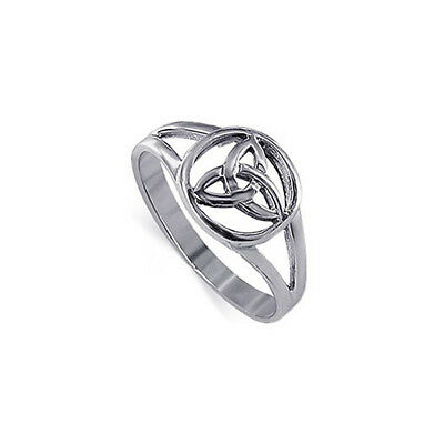 925 Sterling Silver Triquetra Filigree Celtic Knot Ring Size 5 - 10