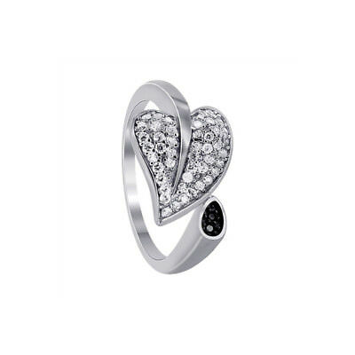 925 Sterling Silver Cubic Zirconia Pave Set Leaf Cuff CZ Nature Ring Size 5 - 9