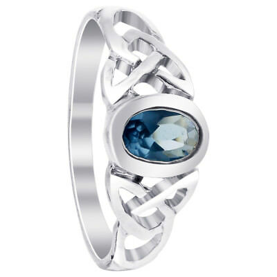 Sterling Silver Oval Blue Cubic Zirconia Celtic Knot Design with CZ Ring