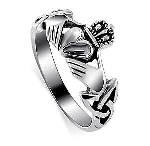Sterling Silver Irish Claddagh Celtic Friendship and Love Ring Size 4 - 13