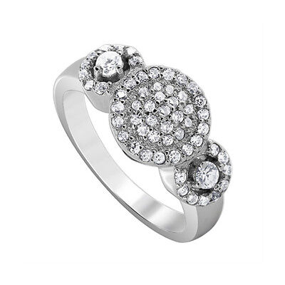 925 Sterling Silver Pave Set Triple Studded Cubic Zirconia Ring Size 7 - 9
