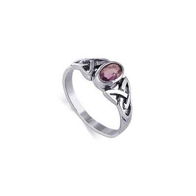 Sterling Silver Amethyst Color Cubic Zirconia Oval Celtic Knot CZ Ring