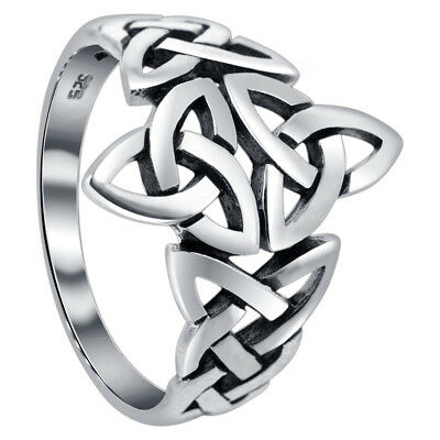 925 Sterling Silver Double Triquetra Celtic Knot Design Ring Size 7 - 12