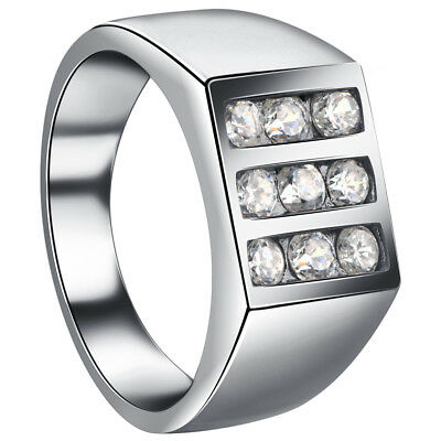 Mens 925 Sterling Silver CZ Cubic Zirconia Ring Size 12, 13