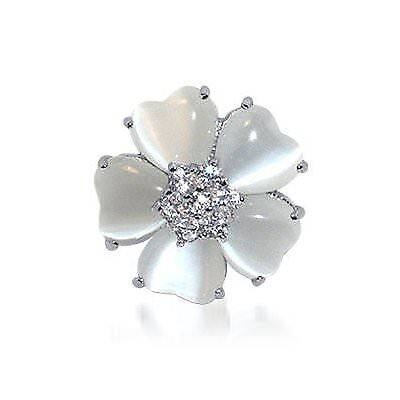 Sterling Silver CZ Cubic Zirconia & Heart Mother of pearl Flower Ring Size 5 - 7