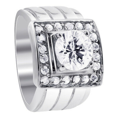 Men's Sterling Silver Round Cut 2 CTW CZ Cubic Zirconia Ring Size 9 - 12
