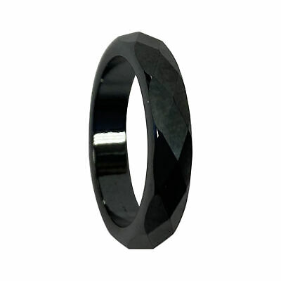 Simulated Hematite Magnetic Multifaceted 4mm Band Size 6 - 12.5