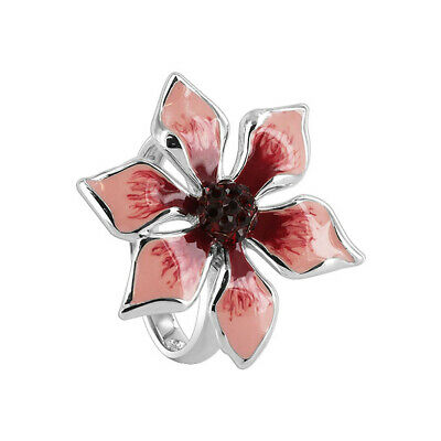 Sterling Silver Pink & Red Enamel Flower with Cubic Zirconia CZ Ring Size 5,10