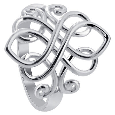 925 Sterling Silver Rhodium Plated Unique Celtic Ring Size 3 - 10