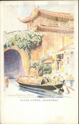 Shanghai China River Scene Canal in Soochow American President Lines Postcard
