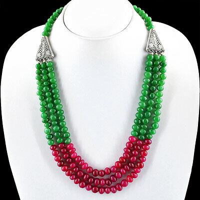 SUPERB MARVELLOUS 481.00 CTS NATURAL RED RUBY /& GREEN EMERALD BEADS NECKLACE