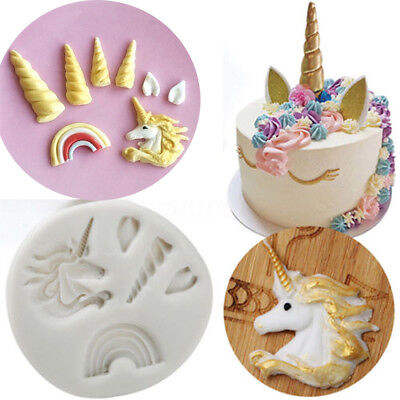 Kawaii 3D Unicorn Silicone Mould Fondant Cake Chocolate Decorating Baking Molds