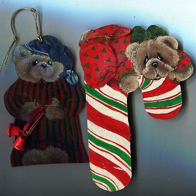 Christmas Ornaments - 2 Bear Hand Painted Hanging Shapes