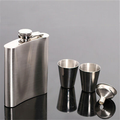 7oz Stainless Steel Hip Liquor Whiskey Alcohol Portable Flask Gift+ Funnel + Cup