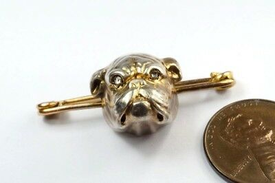 ANTIQUE ENGLISH 15K GOLD & SILVER DIAMOND BULLDOG BROOCH / TIE PIN c1900