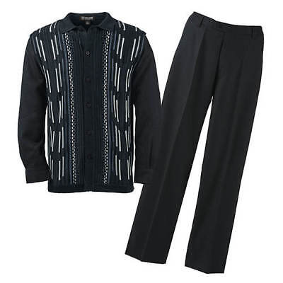 Stacy Adams Men's Shirt and Pants Knit Set in Black - 4XL