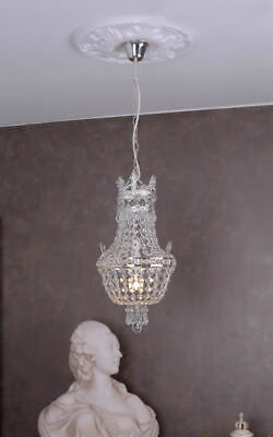 Chandelier crystal Empire basket candelabrum lustre brass ceiling lamp vintage
