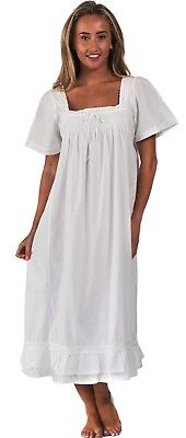 "100% Cotton Nightdress - Evelyn ""White"" - Sizes S- 4XL"