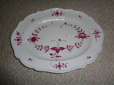 Rare large 18th century meissen porcelain purple indian pink platter tray oval