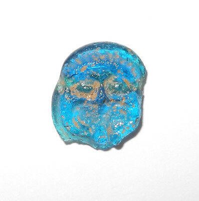 ROMAN era GLASS GRINNING MAN FACE BEAD - VERY RARE - circa 100 to 300 AD