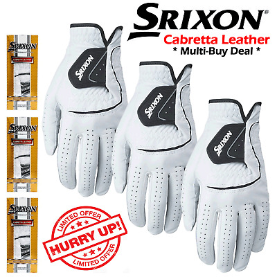Srixon Leather Golf Gloves Mens Leather Golf Gloves All Sizes * New 2018 * White