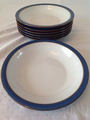 1 X Denby Imperial Blue Rimmed Soup/Pasta Bowl In Excellent Used Condition.