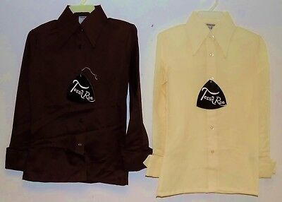 2 x VINTAGE 1970's UNWORN GIRLS BROWN & BEIGE POINTY COLLAR BLOUSES SIZE 26""