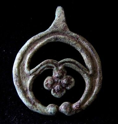 Norse Viking Bronze Lunar Pendant with Cross 900-1000 AD