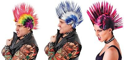 Punk Rocker Mohican Wig - Blue/White - Pink/Black Multi Colour -1980 Fancy Dress