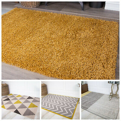 Ochre Mustard Yellow Gold Bright Geometric Area Rugs for Living Room House Floor