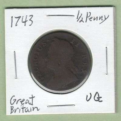 1743 Great Britain 1/2 Penny Coin - George II - VG