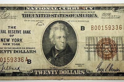 Series 1929 $20 National Currency Federal Reserve Bank of New York, New York