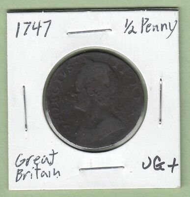 1747 Great Britain 1/2 Penny Coin - George II - VG/Fine