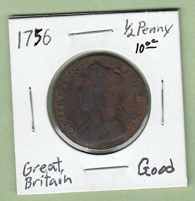 1756 Great Britain 1/2 Penny Coin - George II -