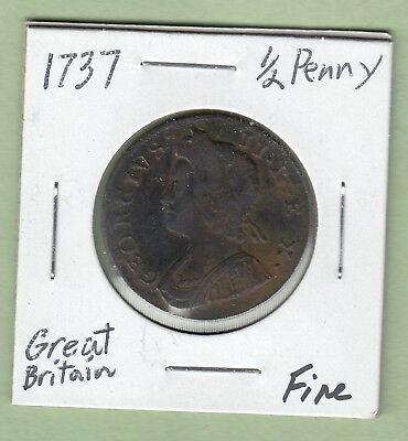 1737 Great Britain 1/2 Penny Coin - George II - Fine