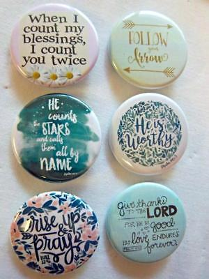 """1.5"""" Christian Set #7~ 6-pk Novelty Buttons/Pins: For backpacks, Jackets & More"""
