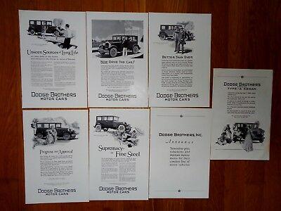 Lot Of 7 Dodge Brothers Motor Car Vintage Automobile Print Ads 1920's / 30's