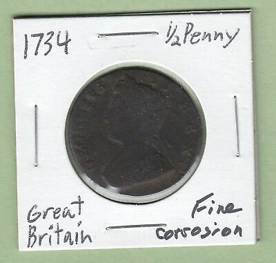 1734 Great Britain 1/2 Penny Coin - George II - Fine (Corrosion)