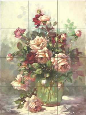 Rose Tile Backsplash Ceramic Mural Taite Floral Flower Art POV-FPT005