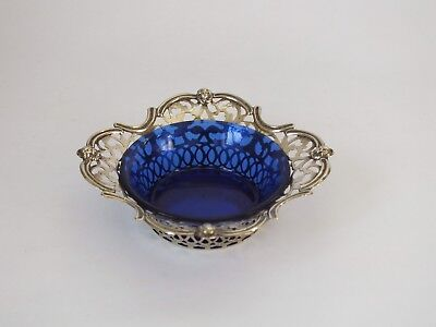 Vintage silver plate small Dish pot blue glass inner 1901 Pierced Work