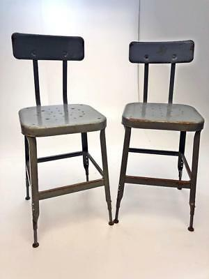 Vintage INDUSTRIAL STOOL PAIR steel metal chair seat steampunk factory drafting