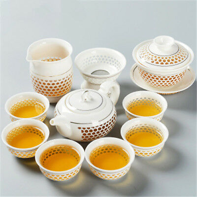 Chinese ceramic tea set porcelain tea pot gaiwan tea cups cellular design teacup