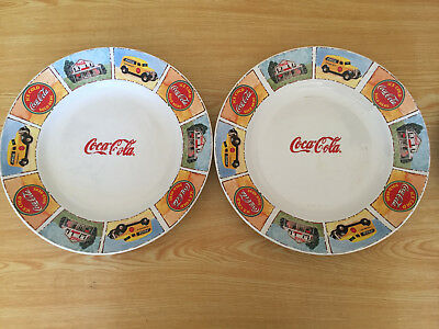 """Lot Of 2 Coca Cola 11"""" Plates by Gibson - Good Ole Days"""