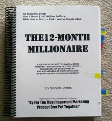 JAMES VINCENT'S ORIGINAL 12 MONTH MILLIONAIRE Copywriting, Direct Mail