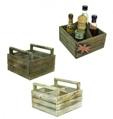 Vintage Wooden Condiment Holder Serving Crate Box with Handle